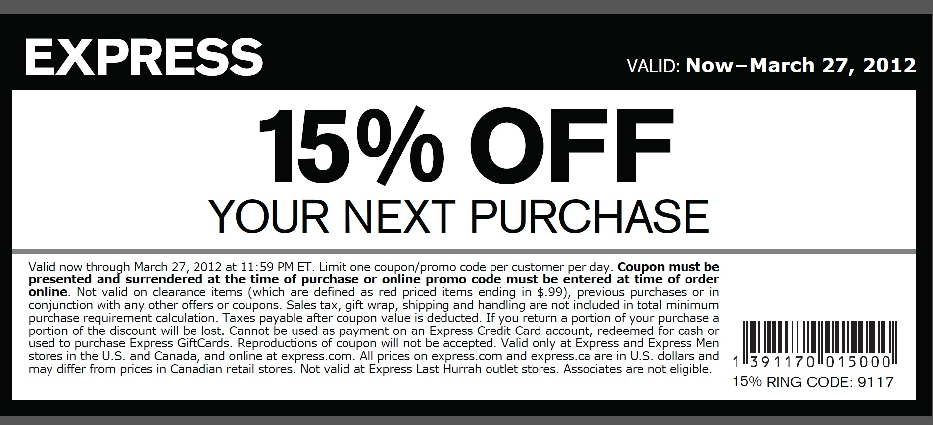 Start saving right away by signing up for Express emails to get 15% off your next purchase. Plus, they'll send you exclusive offers and promo codes throughout the year. you'll get you a free gift on your birthday, and you'll earn 15 points for every dollar you spend on the card. Once you hit 2, points, you'll earn a $10 reward.