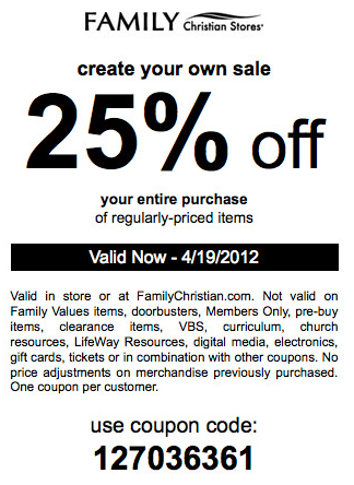 family christian 40 off coupons